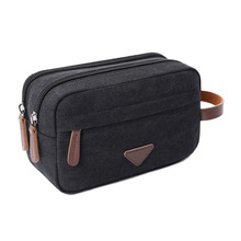 Travel Canvas Cosmetic Makeup Organizer Shaving Dopp Kits with Double Compartments Toiletry Bag