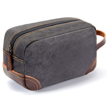 Leather and Canvas Travel Toiletry Bag  Luxury Kit ahd Shaving Bag for Travel Accessories