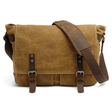 Mens Waxed Canvas Shoulder Satchel Leather Crossbody School Pack for Laptop Messenger Bag