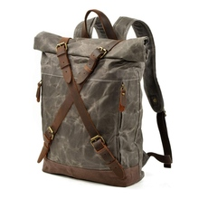 Travel Leather Waxed Canvas Shoulder Rucksack Waterproof Roll Top Backpack