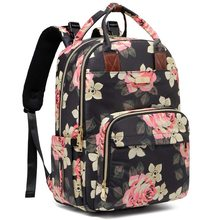 Baby Diaper Bag Large Capacity Floral Diaper Backpack for Baby Girl and Mom