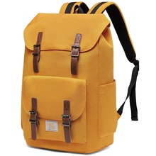 Casual Water-resistant Hiking Camping Daypack Rucksack Travel School Backpack Drawstring Bookbag for College Fits 15.6inch Laptop (Yellow)