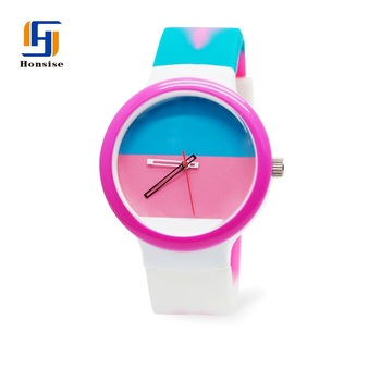 Plastic Case Colorful Silicone Quartz Watch For Woman
