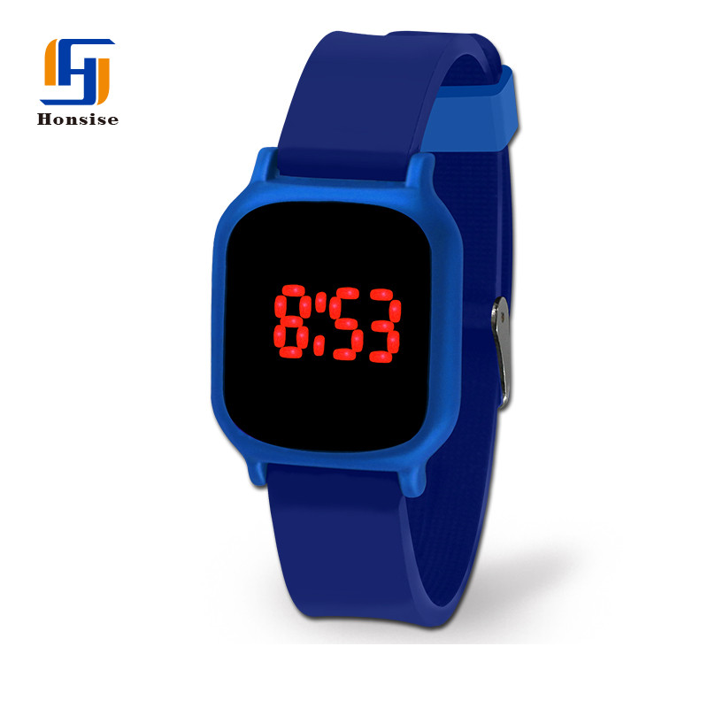 Led Display Square Shape Silicone Wrist Watch For Men