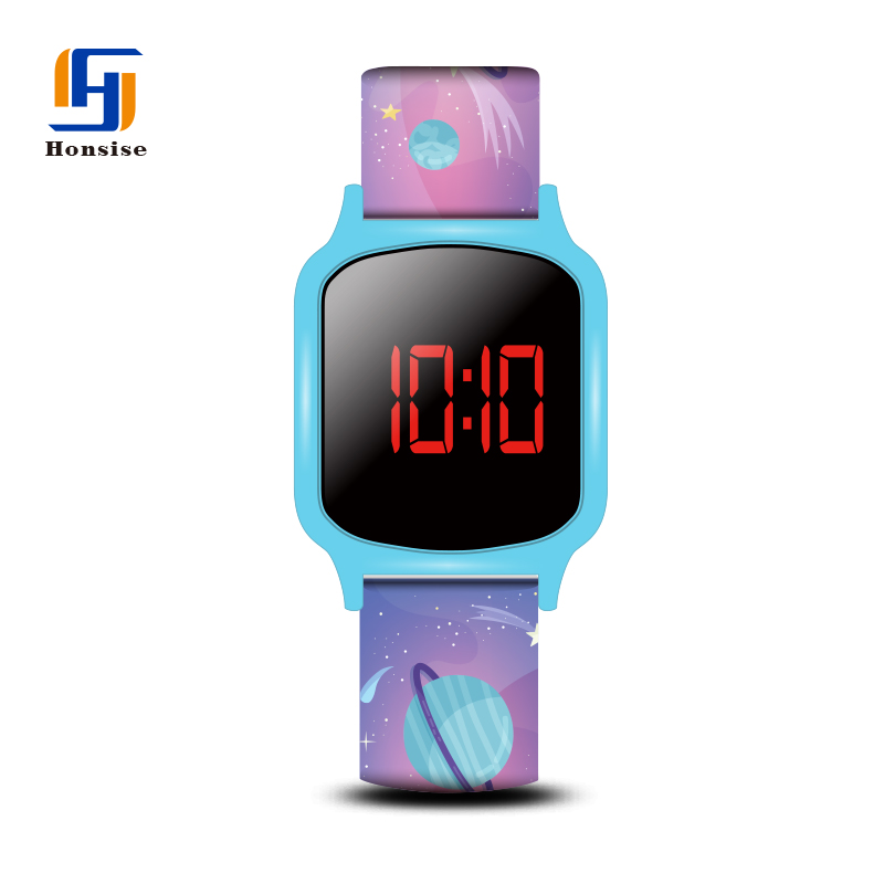 Colorful Watch Silicone Strap Cartoon Printing Square Case Touch Screen Led Kid Watches
