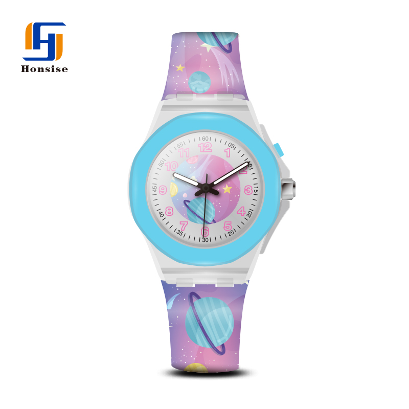 Dazzle Colour Light Cartoon Printing Silicone Strap Plastic Case Children Watches