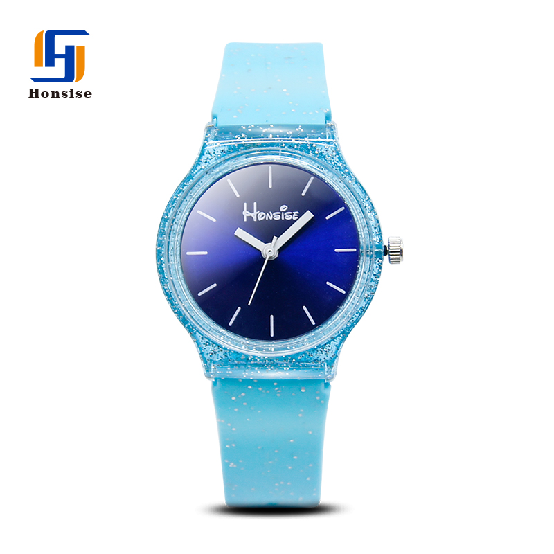 Plastic Case Glister Silicone Quartz Children Watches For Boys