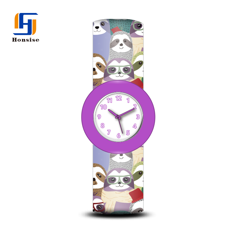 Silicone Japan Movement Pc21 Quartz New Kids Funny Animal Slap Band Bracelet Watch