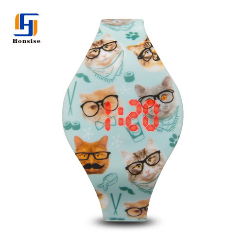 Kids Cartoon Custom Blinking Silicone Watch Bands Multiple Led Color Strap Watches