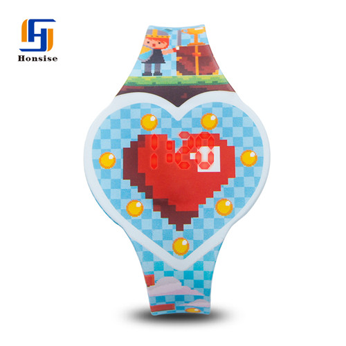 Heart Shape Plastic Case Digital Silicone Colorful led Display Kid Light Up Watches