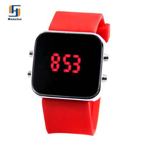 Silicone soft Strap Square Alloy Case LED Mirror Watch