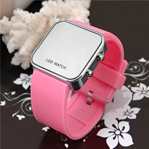 Glister Silicone Strap Stainless Steel Back Alloy Square Case Mirror LED watch
