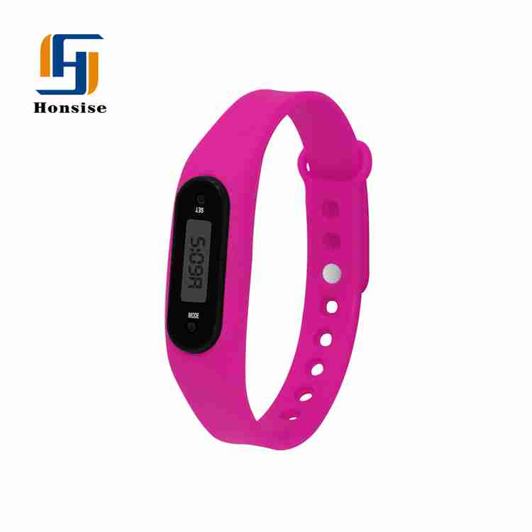 Sport Lcd Record Distanve Silicone Bracelet Pedometer Slim Fitness Watch