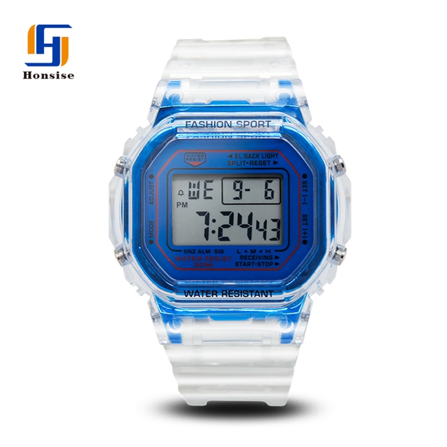 Eco-friendly PU watchband Electronic Chronograph Digital Sport Clear Watch