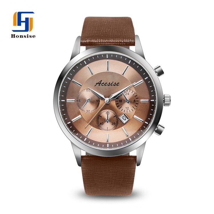 Set Wristwatch Quartz Genuine leather Men Case Luxury Charm OEM