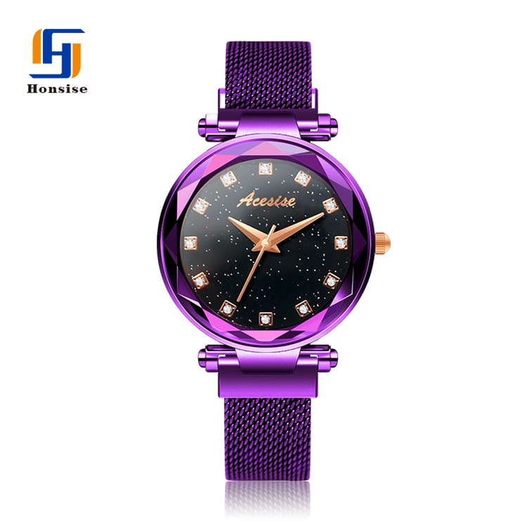 Crystal Dial Starry Mesh watch strap buckle magnetic watch for ladies