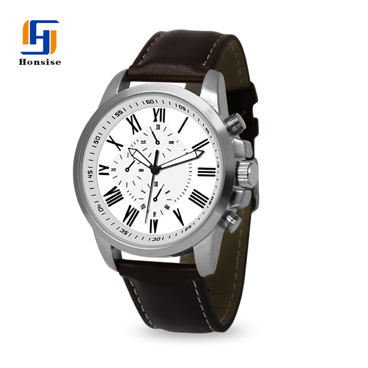Luxury Quartz Chronograph Casual Leather Waterproof Sport Leather Watch For Men