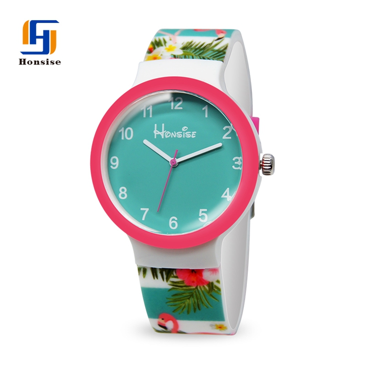 Fashion Analog Lovely Flamingos Design Watch For Children