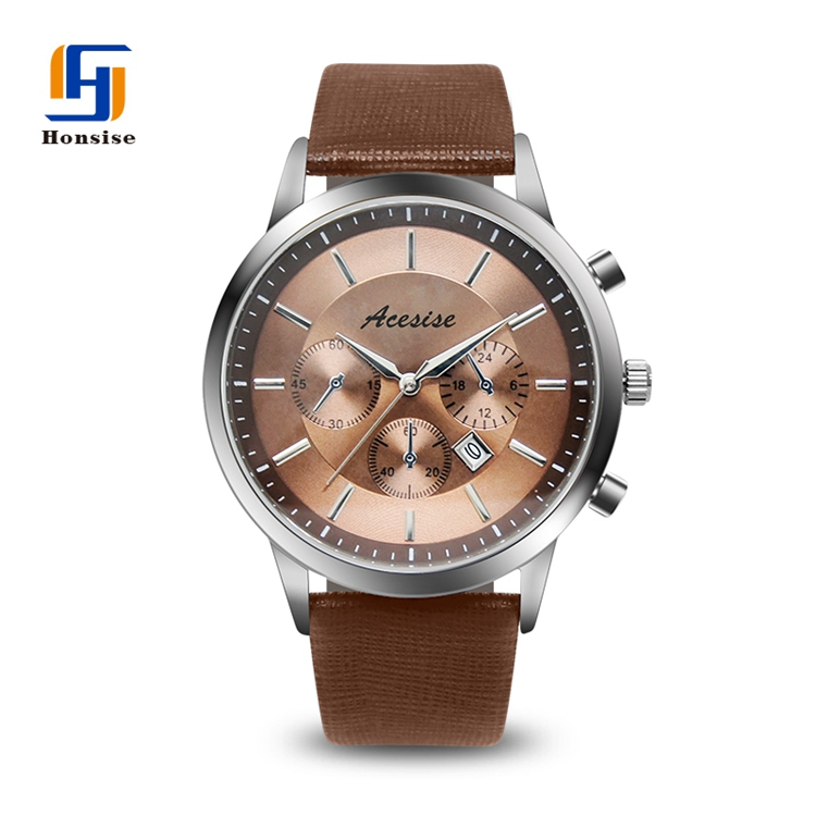 Reasonable Price  Hot Selling Colorful Strap 1atm Water Resistance Genuine Leather Strap Men Wrist Watch