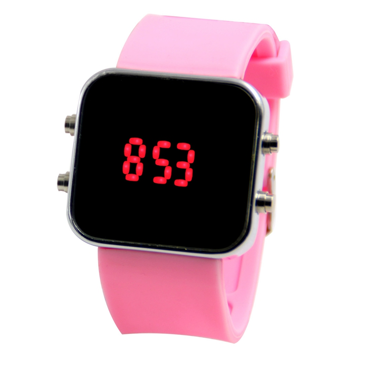 Customize Logo Silicone Stainless Steel Back Set LED Bracelet Square Watch