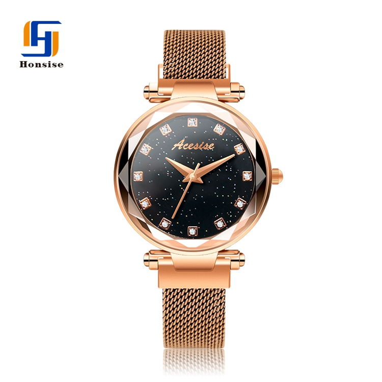 Latest Beautiful mesh band watch goldWatch Magnet Buckle Magnetic Watch For Ladies