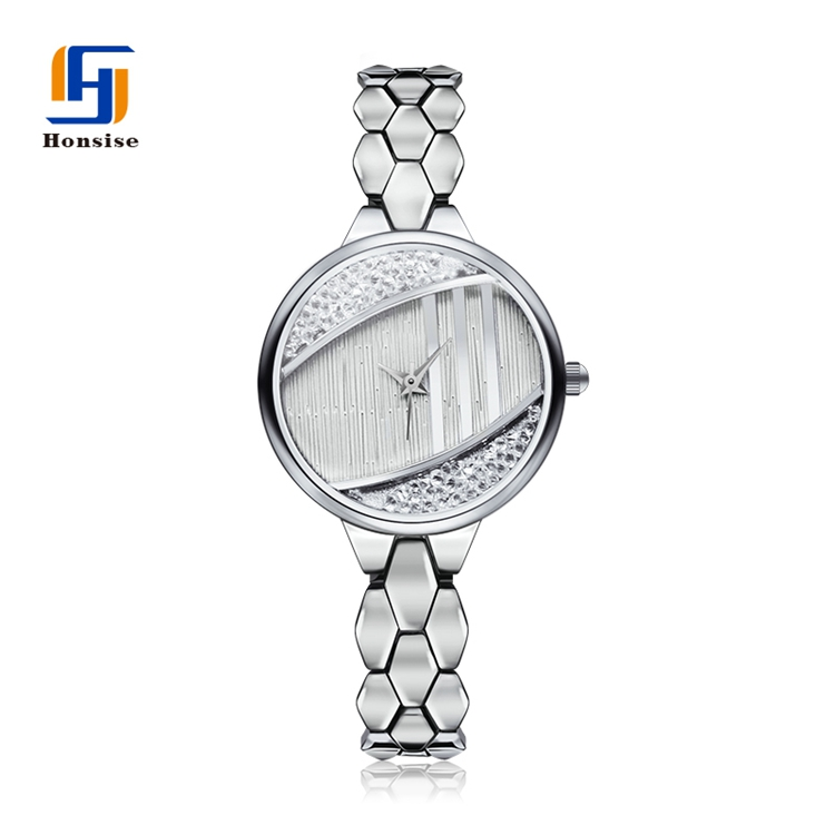Private Label Logo Diamond Quartz Custom Women Stainless Steel Back Water Resistant Bracelet