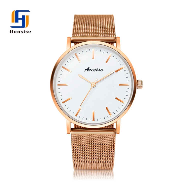 Watch Wristwatch Mesh Gold band Quartz Luxury Waterproof Case Dress Women Popular Minimalist Watch
