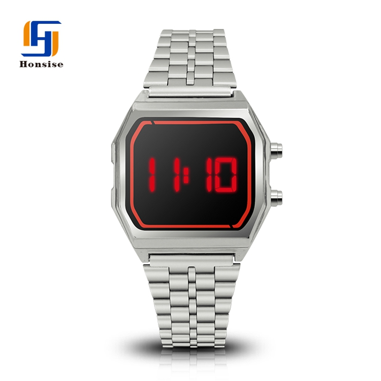 Stainless Steel Back Alloy Luxury Intercrew Led Watch Original Large Display Custom Digital Wrist Watch Sport
