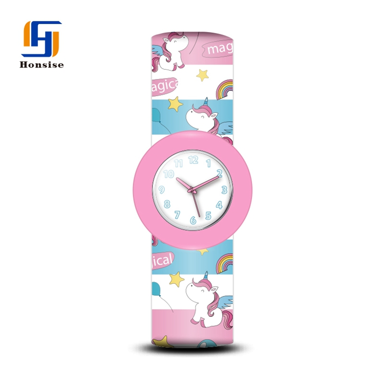 Cartoon Colorful Kid Silicone Watch Straps Unicorn Silicone Slap Watches For Girls Kids