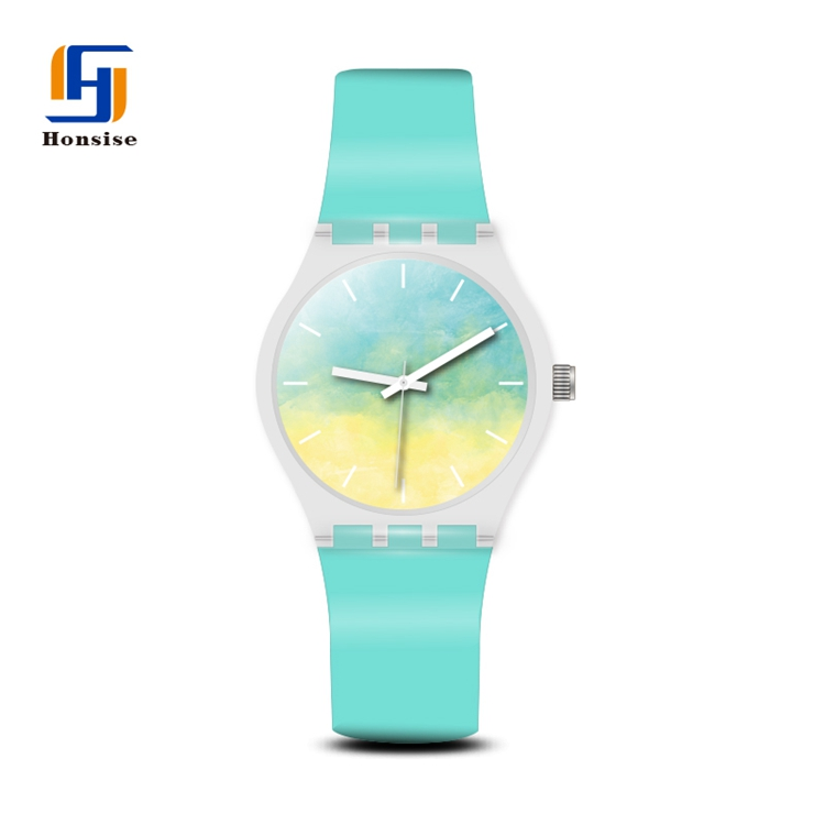 Cheap Silicone Unisex Japan Movement Quartz Watch SR626SW Custom Green Dial Wrist Watches