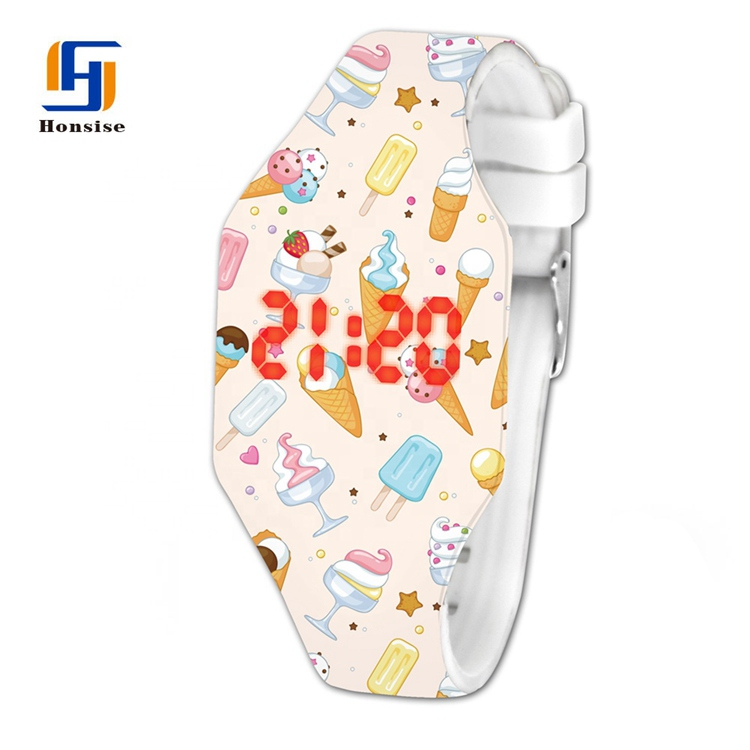 Hot Sale Customized Logo Printed Colorful Silicone Touch Scented Led Watches