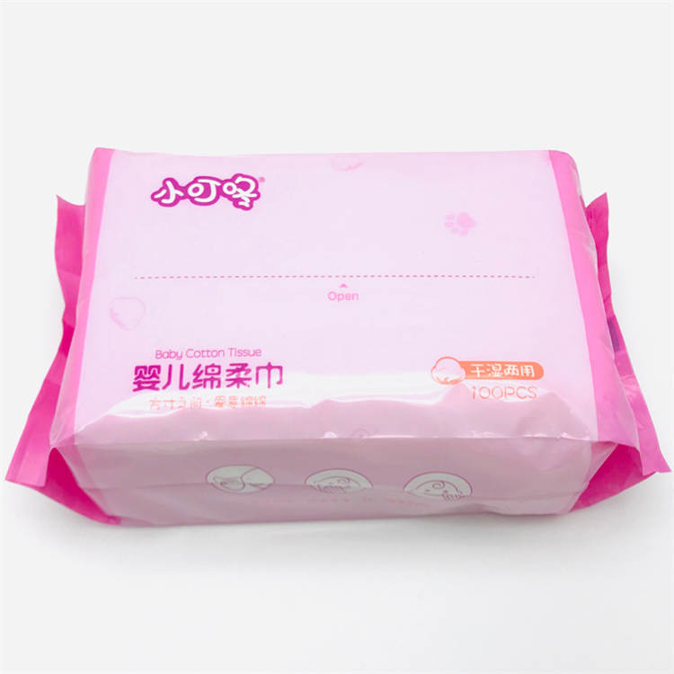Customized Soft Facial Baby Cotton Tissue Disposable Dry Wipes
