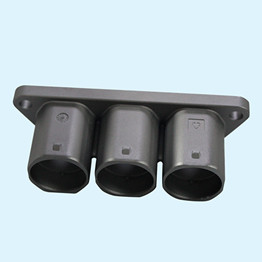 Three cores aluminum alloy die casting EV plug with Zn-Ni alloy plating which could pass salt spray test of 720H