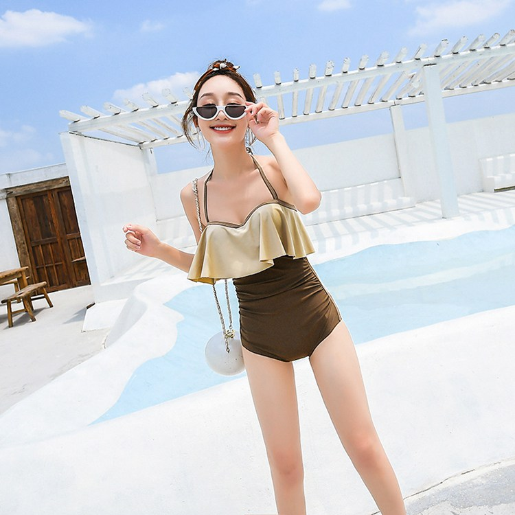 Fashion new Korean sexy gathered conservative cover belly slim tripod beach spa bathing suit woman