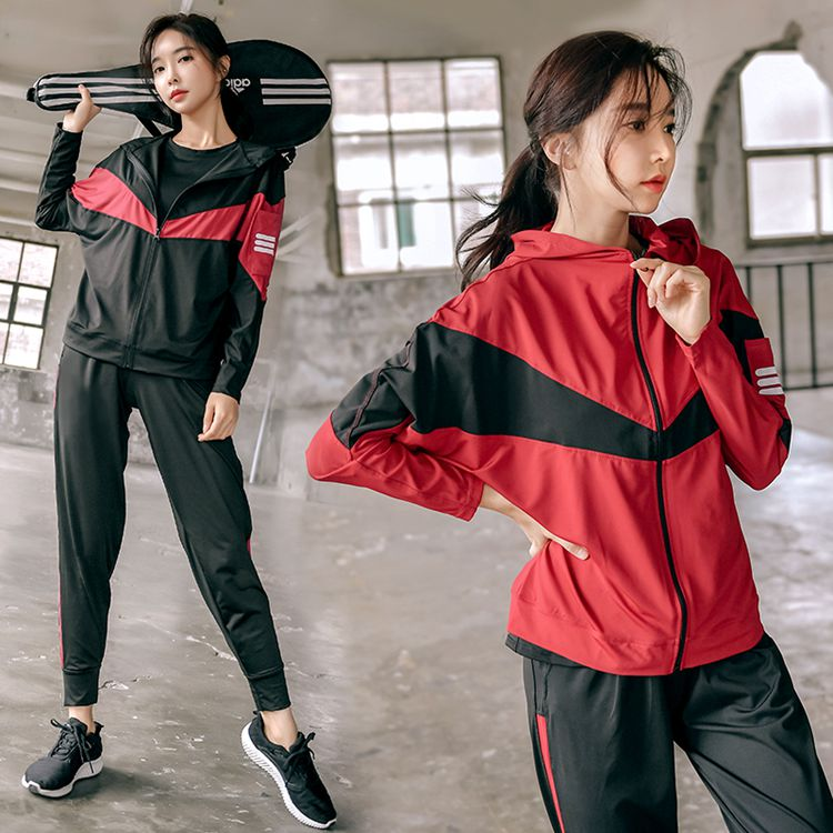 Yoga suit four sets large size sports lose fat mm200 jins autumn and winter tide gym running casual female