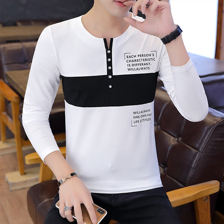 Long-sleeved Men's Spring And Autumn Clothes One-piece Top And Trendy Cotton Round Neck Slim Printed T-shirt