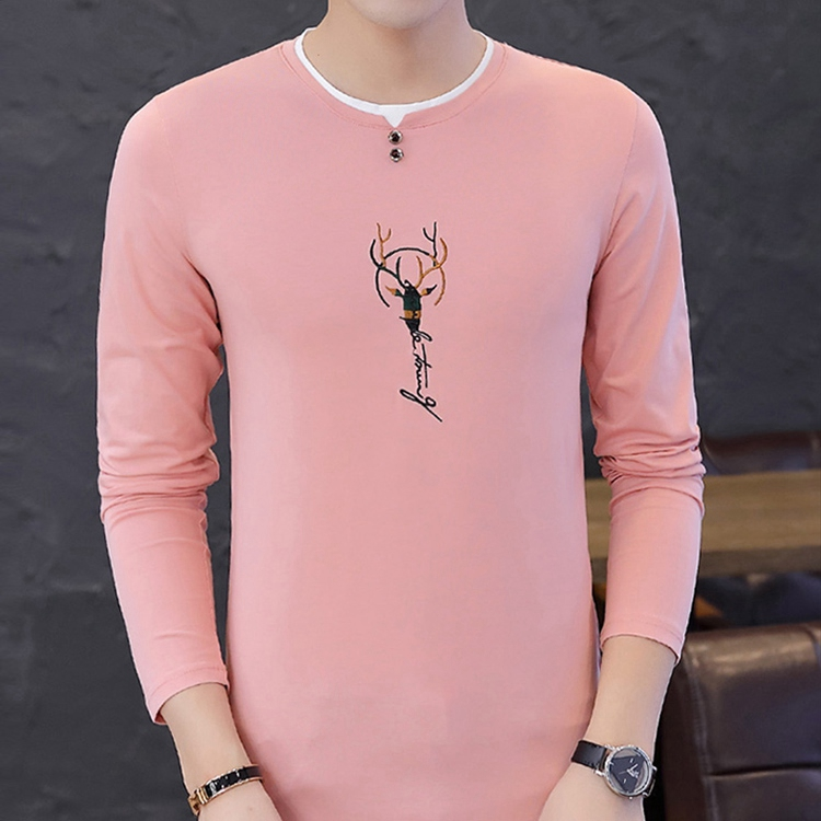 Long-sleeved Men's Spring And Autumn Clothing One-piece Top And Trendy Cotton Round Neck Slim Printed T-shirt