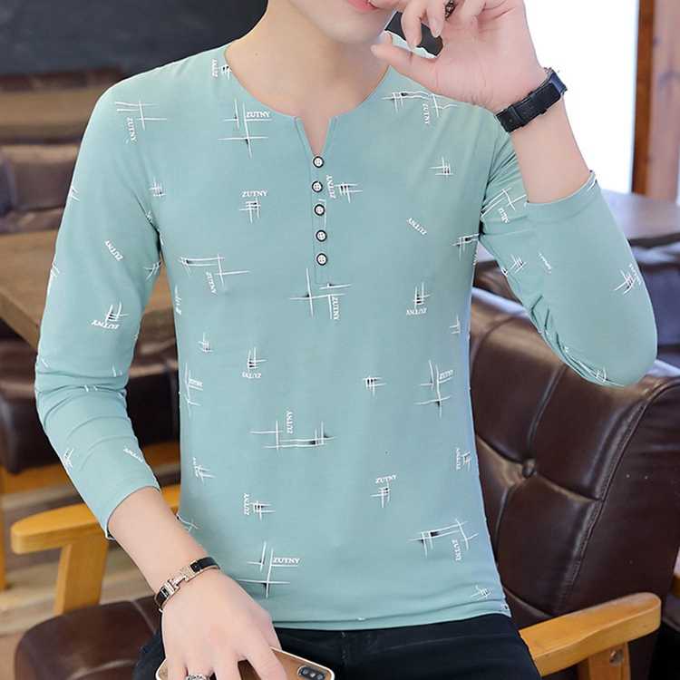 Long-sleeved Men's Spring And Autumn Clothes One-piece Top, And Trendy Cotton Round Neck Slim Printed T-shirt
