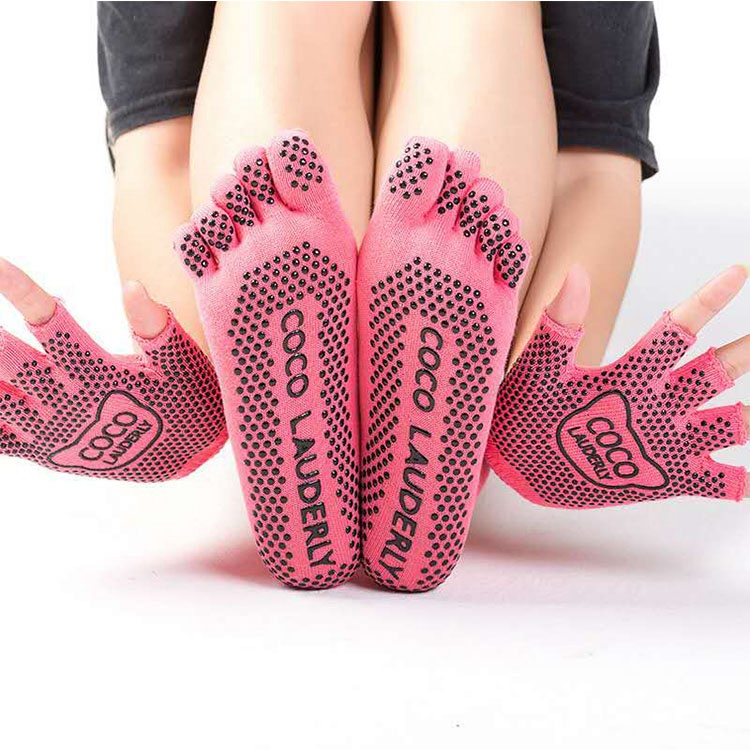 Non-slip Yoga Socks Female Five-finger Socks Silicone Dance Fitness Pilates Cotton Four Seasons Toe Socks