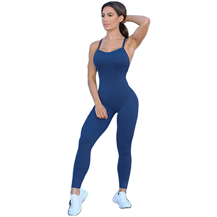 European And American Hot-selling New Knitted Yoga Fitness One-piece Women's Clothing Fashion Sexy Sling Sleeveless Fitness Clothing