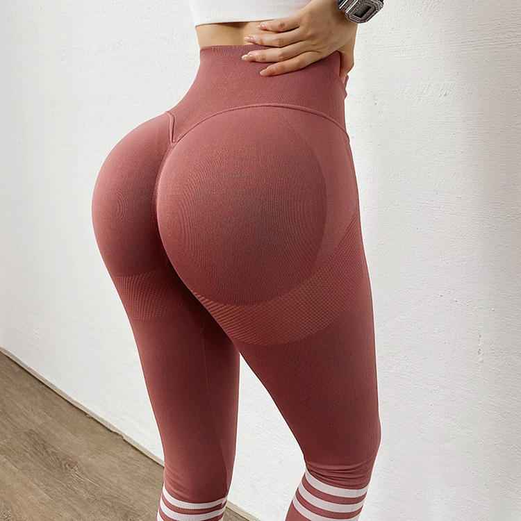 European And American Yoga Pants Seamless Knitted Peach Hip Fitness Pants Women's Tight Elastic Hip Hip High Waist Quick-drying Hip Pants