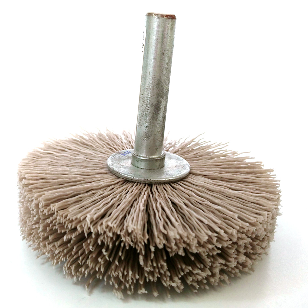 Alumina abrasive nylon filament mandrel mounted brush ideal for enhanced surface finished