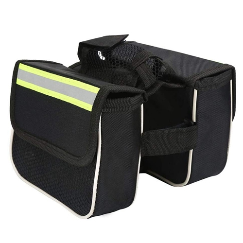 Double Pouches Pannier Waterproof Cycling Bicycle Bag Cycling Saddle Bag Front Frame Saddle Top Tube Bag