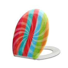 colorful striated toilet seat