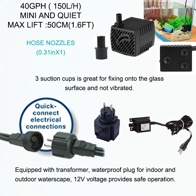 Jier 40GPH Submersible Pump With 1.7FT High Lift Ultra Quiet for Fish Tank Fountain Aquarium