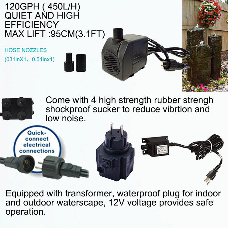 Jier 120GPH Submersible Fountain Water Pump For Statuary And Fountain
