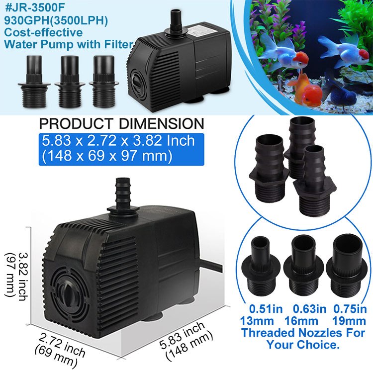 Jier 930GPH Submersible Or Inline Water Pump for Pond Pool Fountain Aquarium Dish Tank JR 3500F Filter Pump