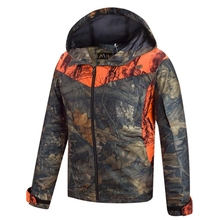 HM15001-1 Men's polyester camouflage printed knitted hunting jacket with hood and pocket