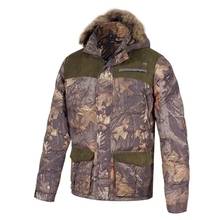 HM15002 Men's polyester camouflage printed woven padded hunting jacket with hood and pocket