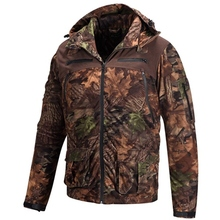 HM15006-1 Men's polyester camouflage printed knitted hunting jacket with hood and pocket